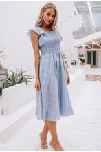 Striped Linen Ruffle Midi Dress