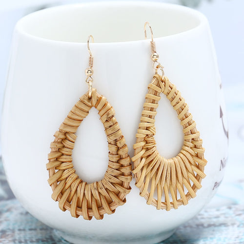 wooden straw earrings