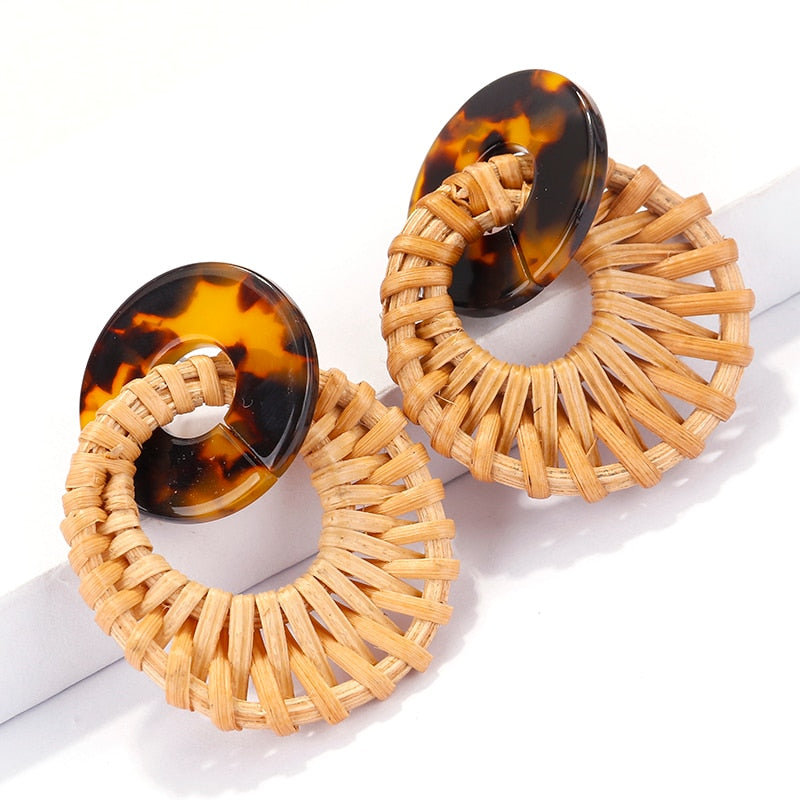 two tone wooden straw earrings