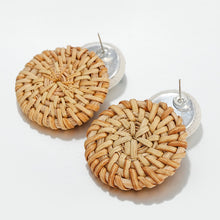 Pineapple Embroidered Straw Earrings