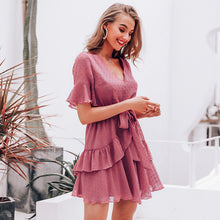 Ruffle Short Sleeve Belted Mini Dress