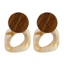 Wood Two Tone Drop Earrings