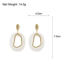 White and Gold Tone Detail Drop Earrings