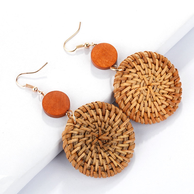 wooden straw drop earringa