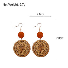 Wooden Straw Drop Earrings