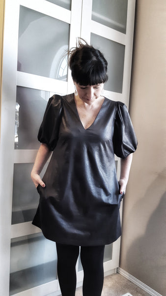 milly dress in faux leather