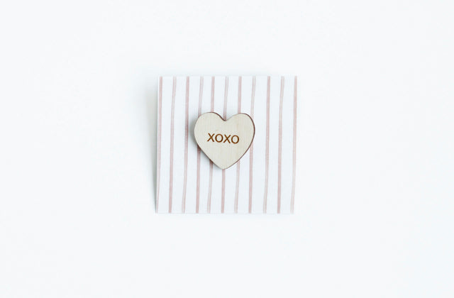 """XOXO"" Wood Conversation Heart Pin"