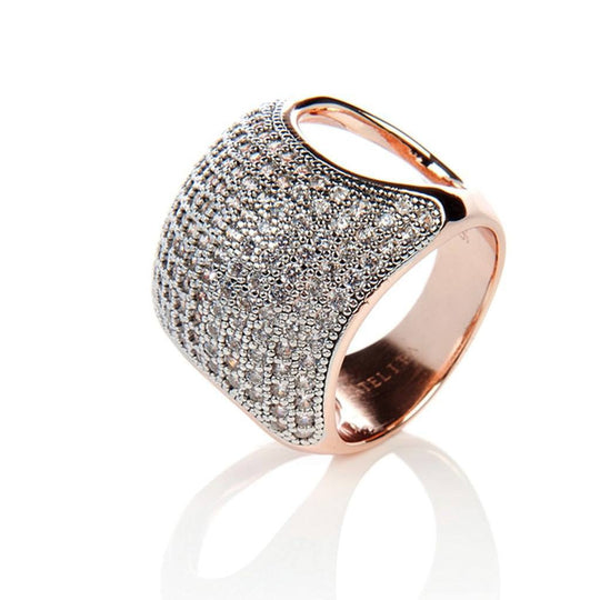 Women - Jewelry - Rings - 22ct Rose Gold Vermeil Micro Pave Cushion Ring - White Zircon