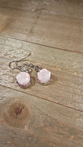 White Crystal Stone Earrings Drop Down Silver