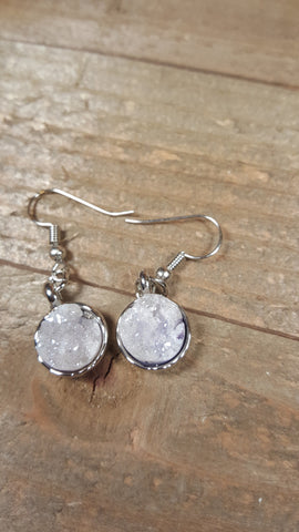 White Blue Tint Crystal Stone Earrings Drop Down
