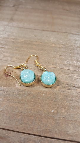 Aqua Crystal Stone Earrings Drop Down Gold