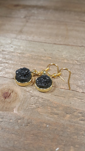 Black Crystal Gem Stone Drop Down Earrings