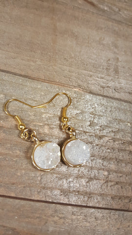 White Crystal Stone Earrings Drop Down Gold
