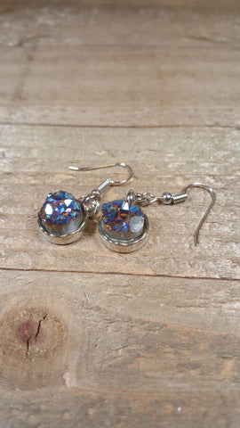 Blue Gold Crystal Gem Stone Drop Down Silver Earrings