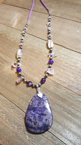 Purple Agate Stone Pendant Necklace