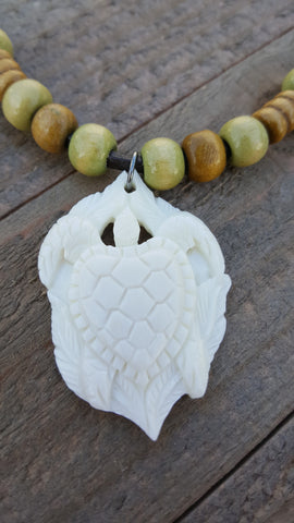 Real Deer Antler Carved Pendant Sea Turtle Necklace