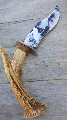 Real Deer Antler Handle Tine Wolf Pack Knife Dagger Paint