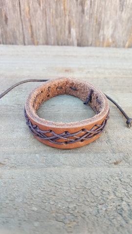 Handmand Brown Leather Dark Brown Weave Bracelet