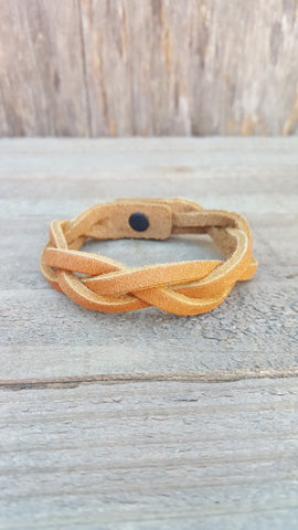 Hand Braided Leather Light Brown Bracelet
