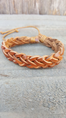 Brown Leather Weaved Bracelet