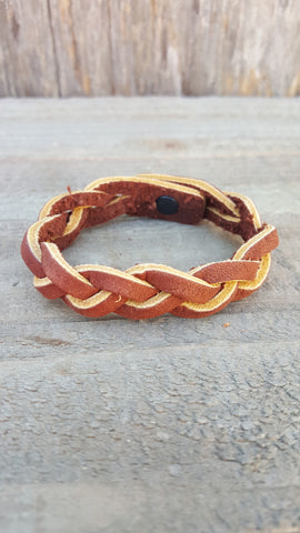 Hand Braided Leather Medium Brown Bracelet