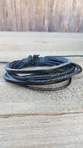 Black Leather Braided Multiple Bands Bracelet