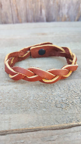 Leather Weave Medium Brown Bracelet