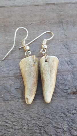 Real Deer Antler Tines Drop Down Earrings