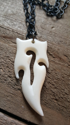 Real Carved Deer Antler Tribal Pendant Chain Necklace Native American Outdoor Fashion Hunting