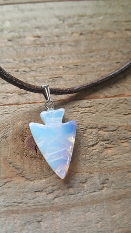 Clear Small Arrowhead Stone Necklace