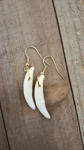 Handmade Real Coyote Tooth Earrings Native American Tribal Outdoor Fashion Art Collection