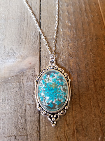 Real Blue Flower Pendant Necklace