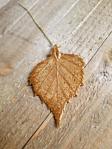 Real 24k Gold Dipped Birch Leaf Choker Necklace