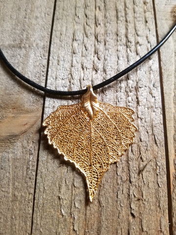 24k Gold Dipped Cottonwood Leaf Black Leather Necklace