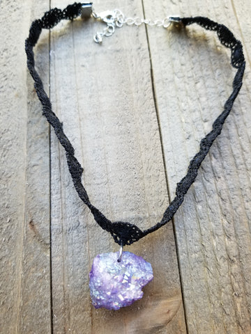 Purple Gem Stone Pendant Choker Necklace