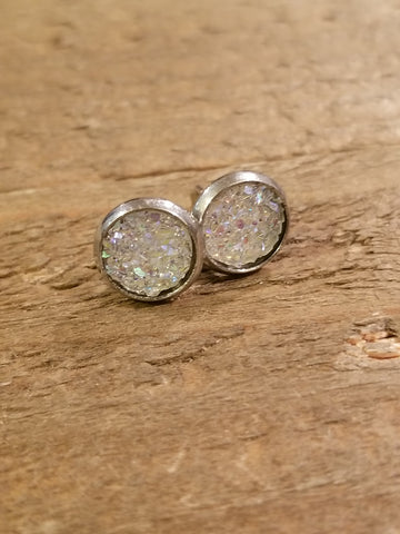 Clear Druzy Crystal Stone Stud Earrings (E15)
