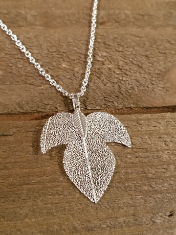 Silver Dipped Leaf Necklace (N10)