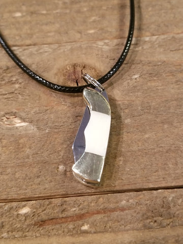 Real Bone Stainless Steel Folding Knife Pendant Necklace (N92) - Artisan Bound