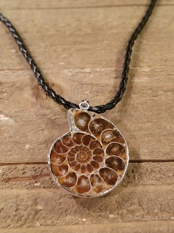 Fossil Ammonite Braided Leather Necklace (N80) - Artisan Bound
