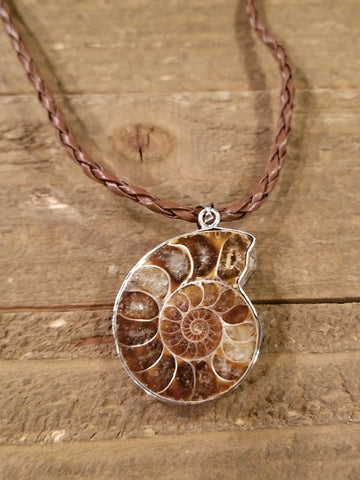 Fossil Ammonite Braided Leather Necklace (N81) - Artisan Bound