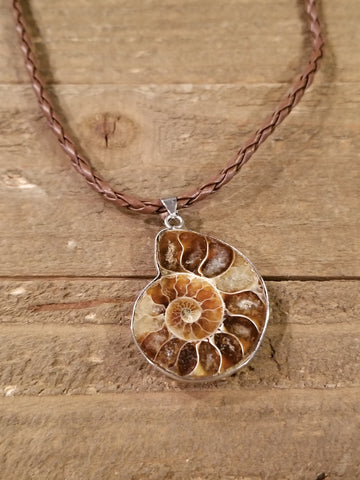 Fossil Ammonite Braided Leather Necklace (N83) - Artisan Bound