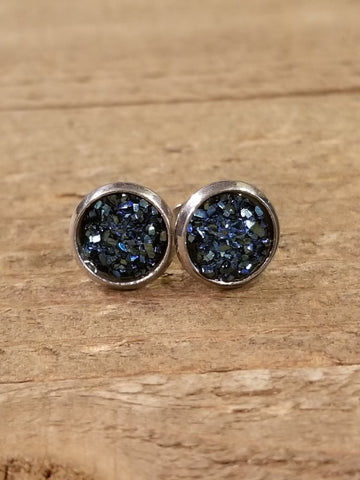 Midnight Druzy Crystal Stone Stud Earrings (E83) - Artisan Bound