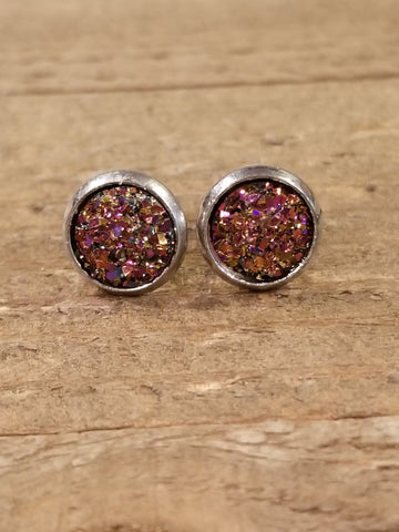 Blood Red Druzy Crystal Stone Stud Earrings (E85) - Artisan Bound