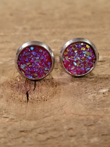 Magenta Druzy Crystal Stone Stud Earrings (E86) - Artisan Bound