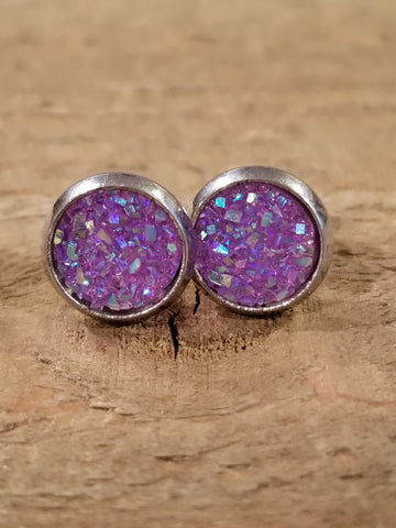 Lavender Druzy Crystal Stone Stud Earrings (E87) - Artisan Bound