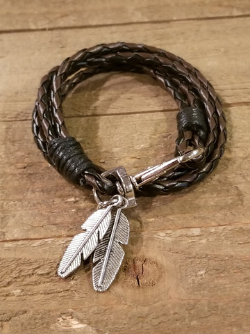Brown Black Leather Braided Wrap Feather Bracelet (B64) - Artisan Bound