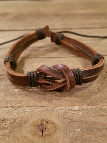 Brown Knot Leather Weaved Bracelet (B65) - Artisan Bound