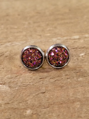 Ruby Red Druzy Crystal Stone Stud Earrings (E90) - Artisan Bound