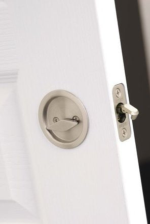 round pocket door privacy lock with attached edge pull