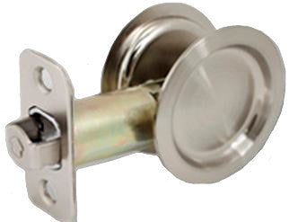 Round Pocket Door Lock PASSAGE with Attached Edge Pull